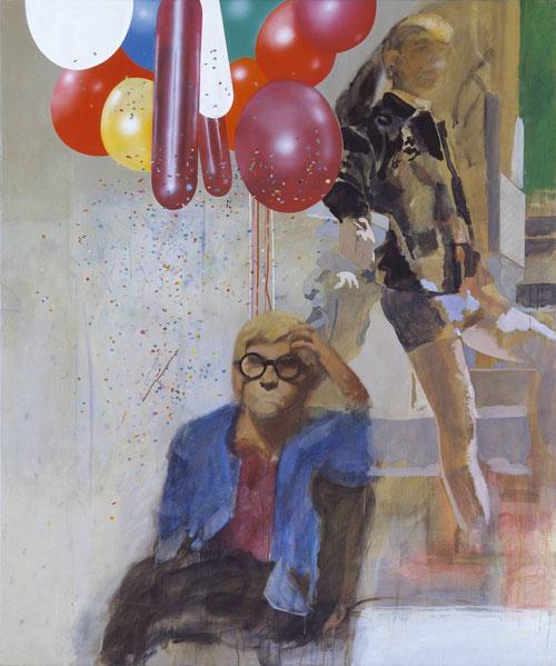 Peter Blake,Retrato de David Hockney en un interior español de Holliwood 1965.Acrílico, grafito y tinta sobre lienzo.182x152cm. Utilizó una fotografía de M.Cooper y detras suya otra de Cooper con pantalones cortos, apoyado en escalera.
