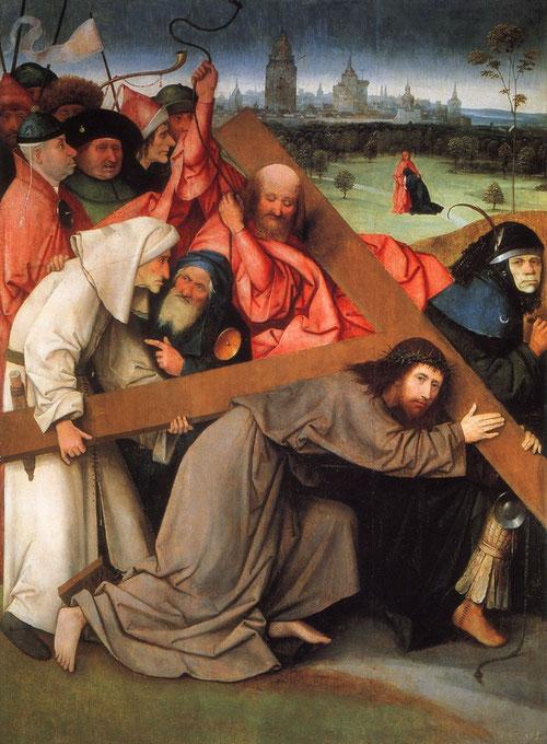 Ieronimus Bosch,El Bosco.Cristo camino del Calvario, 1505-7.Óleo sobre tabla,142x104cm.Monasterio de San Lorenzo del Escorial. Madrid.