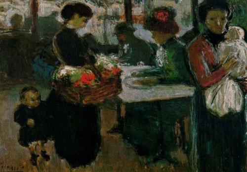 Picasso. Café en Montmartre París 1901.Óleo sobre cartón 44x53cm.Museo Ludwig,Colonia..También Picasso desarrolló una curiosidad por los excesos de la noche parisina.