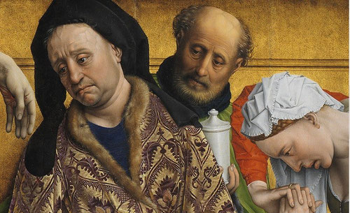 José de Arimatea, vestido conforme a su rango social, mira la mano de Jesús, por su cara resbalan lágrimas creíbles.Detrás el criado sostiene el tarro de perfume de nardos, atributo de Magdalena. Cromatismo en las texturas de su ropa.