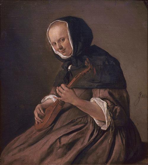 Jan Steen.Mujer tocando la cítara 1662.Óleo sobre tabla 31x27cm.La Haya,Mauritshuis.