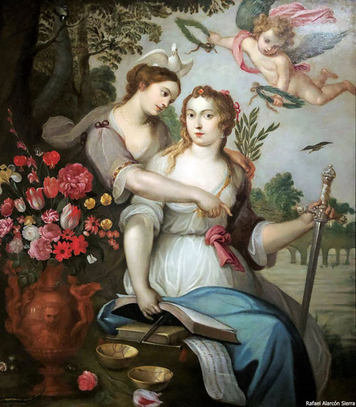 Abraham Brueghel y Luigi Garzi.Alegoría de la Justicia y Paz.1660.Óleo sobre lienzo.148x130cm. Colección privada. Reino Unido.