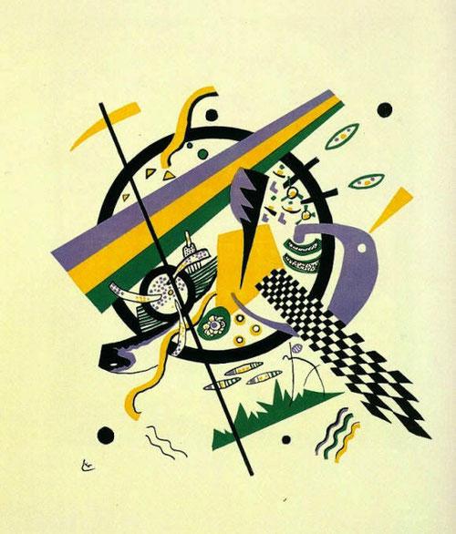 Pequeños mundos IV.1922.Litografia en color, 4 piedras amarillo, rojo, azul y negro. Legado Nina Kandinsky.