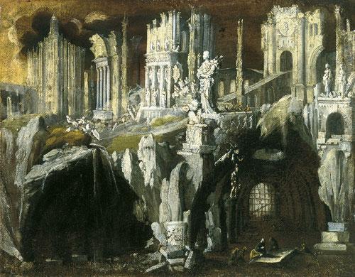 Francois de Nomé. Daniel en el foso de los leones.1624. Museo Thyssen. Autor con estilo propio y definido, lo varió poco a lo largo de su carrera:es la visió apocalíptica del mundo!