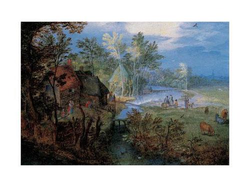 Jan Brueghel el Viejo.Aldea con campesinos y animales.1609.Óleo sobre cobre.11x16cm.Colección privada.