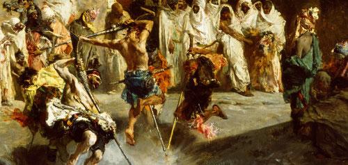 Fantasía árabe.1867..Óleo sobre lienzo 56x67cm.Convertido ya en maestro de las exposiciones internacionales.Llamativa ceremonia de la celebración en Tánger del Mulud,nacimiento del profeta, tal vez acompañada de pirotecnia.