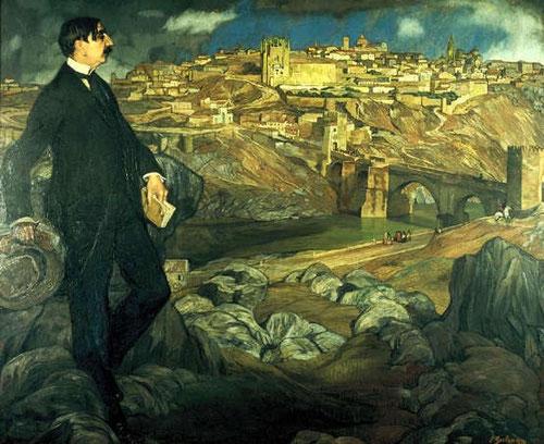 IGNACIO ZULOAGA retrató a Maurice Barrès en 1913 en un paisaje de Toledo claramente influenciado por el Greco, paisaje español por excelencia.Aparece muy complacido el retratado con libro en la mano.Óleo sobre lienzo 203cmx240cm.Museo D´Orsay.Paris