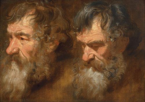 Van Dyck,Dos estudios de hombra con barba.1616,tabla Amberes.Colección de estudios para sus grandes narraciones históricas como sus apóstoles.Pinceladas sueltas,forma caligráfica de pintar el cabello típico de Van Dyck.