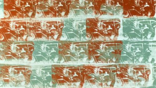 Andy Warhol.Optical Car Crash.1962 Máximo representante del Pop Art.La velocidad ha alterado para siempre el concepto de las cosas.La repetición seriada, procedente de la cultura de masas y consumo es célebre por sus mitos icónicos.