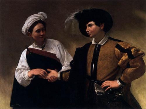 La buenaventura,1594.Óleo sobre lienzo.115x150cm.Roma Musei Capitolini.Un lar y sinuoso camino el emprendido por Caravaggio inventando un nuevo asunto artístico.Una gitana con la excusa de leerle la mano,le roba el anillo.