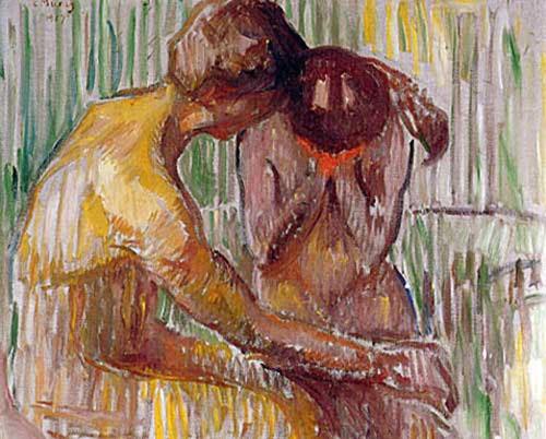 Consolación,vemos al amante joven consolando a la mujer.Aqui Munch se aleja del arquetipo de mujer dominante, acercándose a la ruptura trágica.
