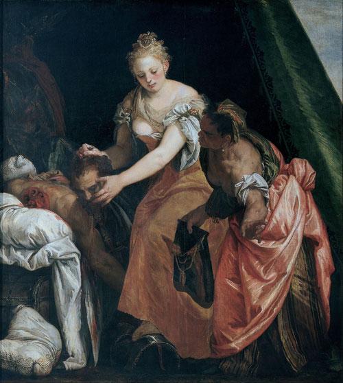 Paolo Veronés.Judit y Holofernes hacia 1580.. Óleo sobre lienzo 196x176cm.Génova Musei di Strada. Una razón de ser que buscaba en la deformación de la materia pictórica