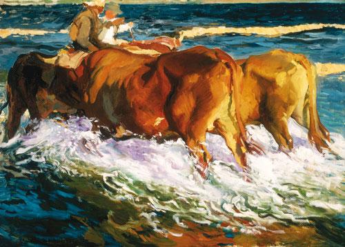 Estudio para el sol de la tarde.1902.Óleo sobre lienzo.96x135cm, Colección Perez Simón, Mejico.Trabajó para pintar una luz del sol que fuera al mismo tiempo hermosa y verídica que expresara la emoción de la naturaleza.