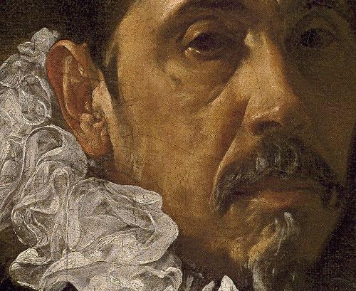 Detalle de Francisco Pacheco, suegro de Velázquez y maestro.1620.El traje negro y la gorguera son también comunes a estas piezas y sirven para situar a los personajes en una escala social burguesa o noble.Con gran peso artístico en Sevilla.