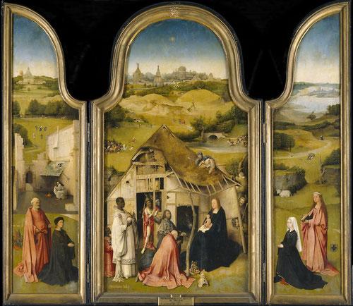 Tríptico de la Adoración de los Magos,1494.Museo del Prado.Las tablas laterales con sus comitentes identificados por sus escudos,pertenecientes a la alta burguesia de Amberes.El tema es la llegada de la Salvación al mundo.