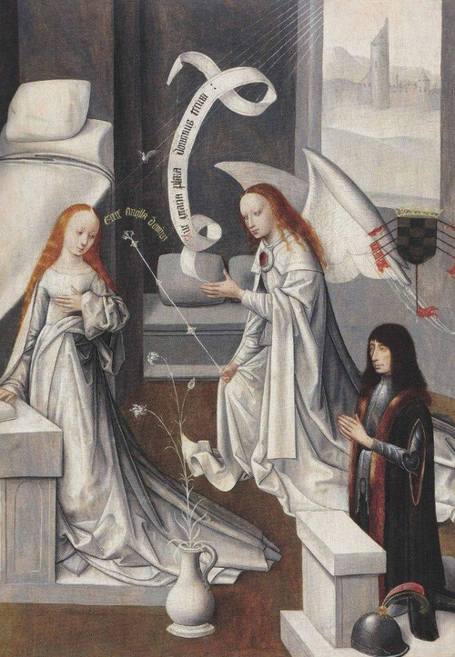 Anunciación con el primer Duque de Alba.Maestro de la Virgo inter Virgines. SXV.Tabla 91x68cm