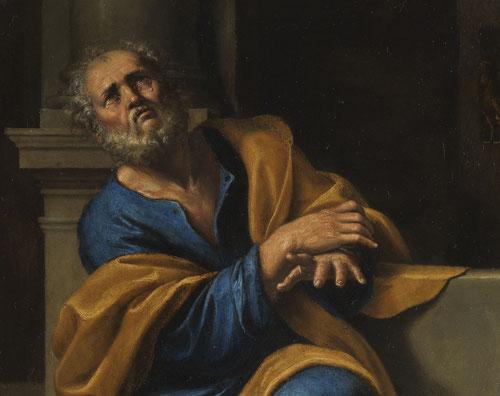 Domenichino,las lágrimas de San Pedro.1600-33.Óleo sobre lámina de cobre.28x21cm.Colección Real.