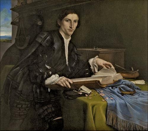 Lorenzo Lotto.Retrato de un joven en su estudio.1528.Óleo sobre lienzo,98x111cm.Galería de la Academia,Venecia.