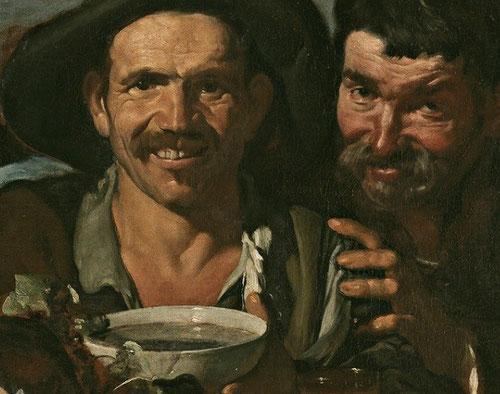 Velázquez.Detalle de los borrachos o el triunfo de Baco.1628.Como gran renovador de géneros pictóricos aborda temas mitológicos acercándolos a lo cotidiano.Gusto por las gamas terrosas, rostros curtidos,composición meditada,gran influencia de Rubens.