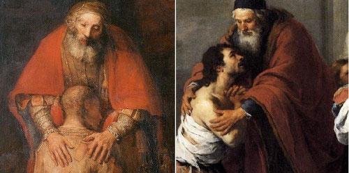 Según el Cardenal Kasper sentir misericordia cambia el mundo,hace el mundo menos frío y más justo.Encontramos en estas  miradas de Rembrandt y Murillo no solo la reconciliación entre el Padre y el hijo,sino la distancia oscura y resentida del hijo mayor.