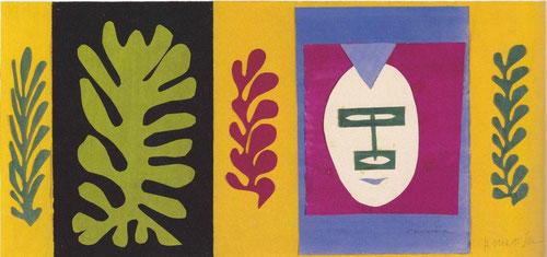 H. Matisse, El esquimal, 1947. Gouache y papel recortado, 40x86cm, Designmuseum Danmark. Formas recortadas y coloreadas, hojas del árbol del pan, máscaras..así comenzó a explotar sus recuerdos de Tahití en los papiers découpes.