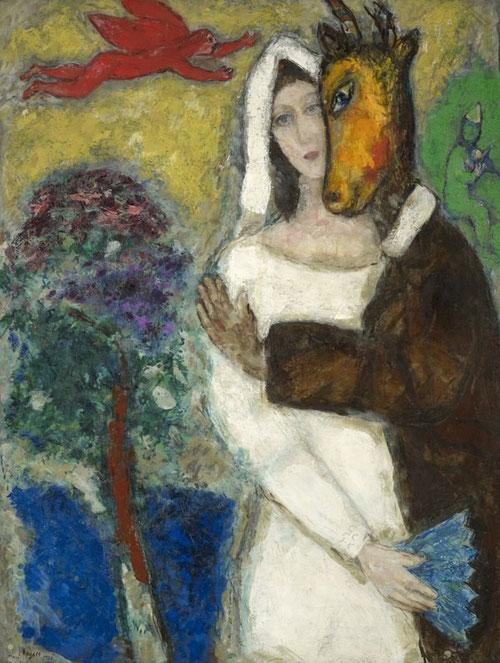 Marc Chagall,Sueño de una noche de verano.1939. Musée de Grenoble.Donación del artista 1951.Óleo sobre lienzo. 116.5x89cm. Las flores tienen su propio lenguaje del amor y de himnos paradisíacos..Se unen figuras que vuelan, entre lo sagrado y la poesía.