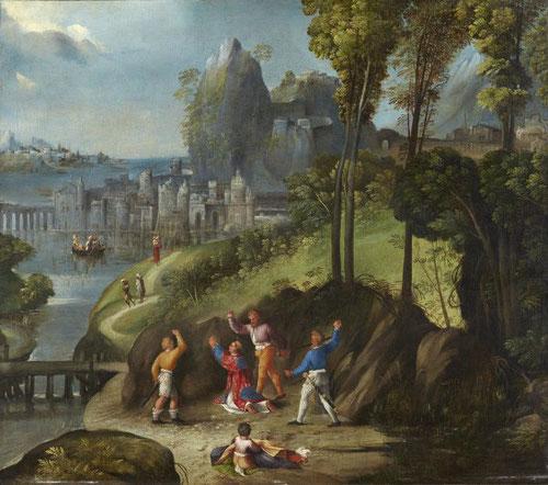 Dosso y Battista Dossi.Lapidación de San Esteban,1525.Óleo sobre lienzo.80x90cm.Colección Thyssen.