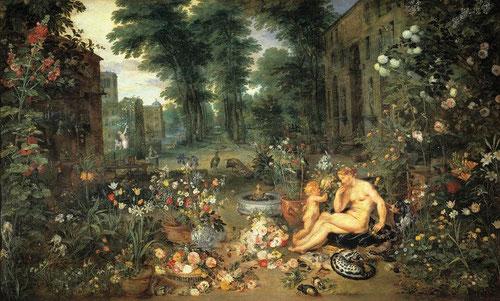 Serie de Los cinco sentidos:el olfato.En colaboración Rubens y Brueghel el viejo en 1618. Cuadros de gabinete para Isabel Clara Eugenia.