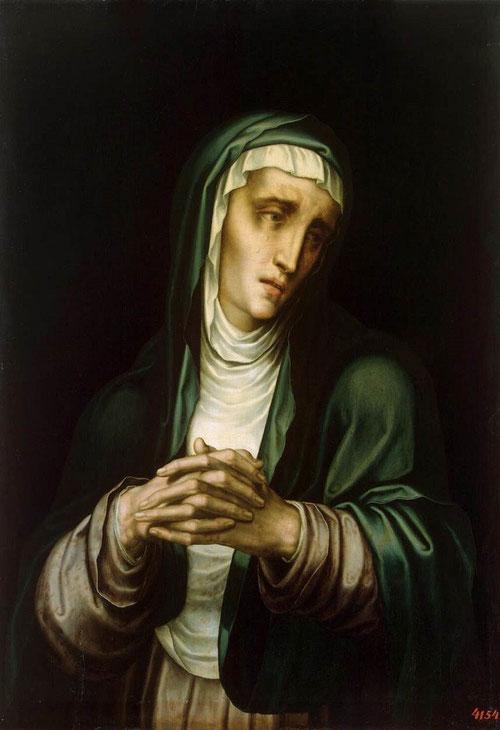 La Virgen de los Dolores,1560/70.Óleo sobre tabla de nogal.73x50cm.M.Prado,en depósito en el Museo de Málaga..Manos grandes entrelazadas,mirada perdida,manto verde azulado,exaltación del patetismo.