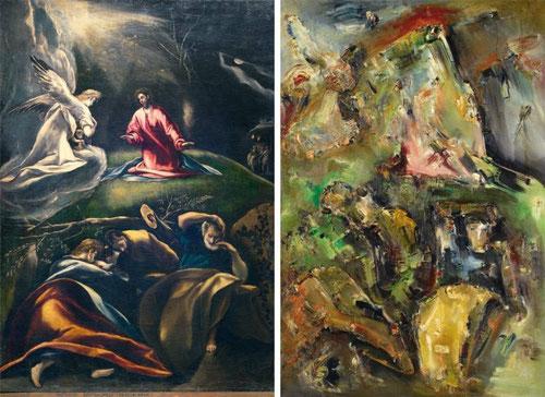 La oración en el huerto del Greco 1600 en la Parroquia de Andújar como punto de partida para la composición de Adrian KORTEWEG,1913-14 en la Galeria de Munich.Una visión moderna de la oración en el Huerto,ambiente alucinado de fluidez en manchas de color.