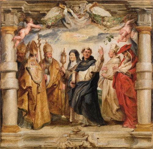 Boceto para serie de tapices sobre los defensores de la Eucaristía. 1625.Óleo sobre tabla.65x68cm.Museo Nacional del Prado.Rubens trazó una línea perimetral para enmarcar cada escena.La Eucaristía,dogma ppal de la Iglesia Católica frente al protestantismo