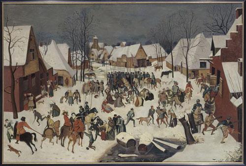 """André Derain.Copia de Pieter Brueghel,La matanza de los inocentes,1945-1950. Óleo sobre lienzo,97x147cm.Musée d´Art Moderne,Troyes.""""La verdadera modernidad esta en la reivención del pasado,en esa originalidad descubierta,a partir de ellos,sus experiencias"""