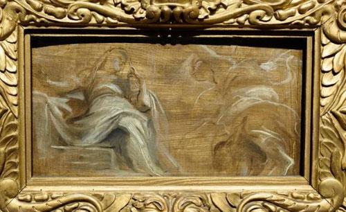 La Anunciación de 1620.Este bello boceto grisalla de Oxford. 14x26cm en color sepia formaría parte de los techos de los jesuitas en Amberes, 36 de ellas en las naves altas. Junto a los milagros de San Ignacio de Loyola y S. Fco Javier.
