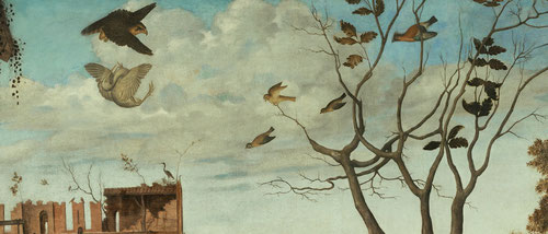 Detalle del significado simbólico de las aves,cigüeñas, halcón peregrino,garza real, símbolo del sufrimiento, que será abatida por el halcón, una lucha en términos de incertidumbre.Pavo real que promete la resurrección a quien aparte la vanagloria.