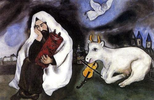 La soledad 1933. Óleo sobre lienzo. Tel Aviv Museum of Art...También está ahí el dolor del mundo, una mirada grave pero melancólica, pero junto al dolor siempre hay símbolos de consuelo. En su viaje a Palestina en 1931 le unen a su historia y tradiciones.
