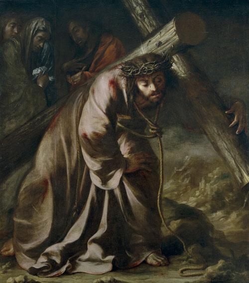 Juan Valdes Leal,Cristo con la Cruz a cuestas,1661. Con formación en la escuela sevillana,colaboró con Murillo.Coge el model de composición de Sebastiano di Pombo.Incluye a Magdalena, San Juan y la Virgen, dándole mayor fuerza emocional.