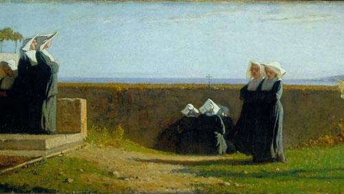 Vicenzo Cabianca, las monjitas.1861.Óleo sobre lienzo, 36x99cm.Instituto Matteucci, Vireggio.