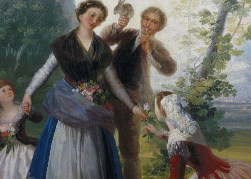 Detalle de la Primavera,Goya,Museo del Prado,cartón 1786.Toda una alegoría , dos mujeres y un mozo con un conejo en la mano, como atributos de Flora y símbolo de la fecundidad.