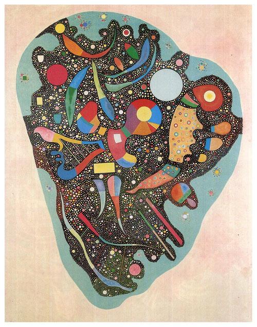 """Desorden ordenado o conjunto multicolor 1938.Óleo y ripolin(pigmento blanco a base de caseina,especie de esmalte utilizado por Picasso)sobre lienzo.Este mismo año publica""""Arte concreto para establecer tendencia e identidad.obras de gran formato,serenidad."""