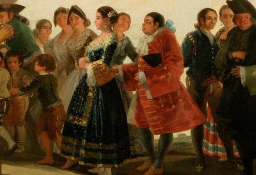 La burlesca comitiva de La Boda de Goya, 1792, convierte a los protagonistas en una metáfora de la vida, la desigualdad del matrimonio, la novia marcha tranquila junto al rico criollo originario de las colonias del Nuevo Mundo.