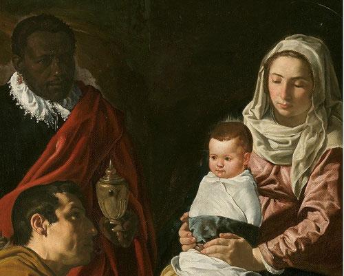 Realizada antes de su llegada a la corte, La Adoración de los Reyes Magos o Epifanía, transmite el contenido religioso, concentrándose en la expresión y rasgos de los personajes, utiliza modelos familiares,la Virgen es su mujer Juana Pacheco.