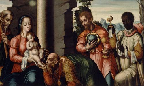 A partir de estampas de Durero,la composición de La Epifanía o Adoración de los Reyes Magos,1565-Melchor se inclina para besar el pie del niño-la postratio- forma bizantina de la oración derivada de rito oriental,iconografía no muy habitual en occidente.