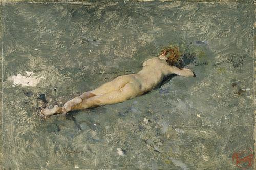 Niño desnudo de espaldas en la playa de Portici 1874,óleo sobre tabla.Sorprende su reducido tamaño 5cmx7cm.Colección particular. A pesar del pequeño formato asombra su impecable factura dado su interés por captar la luz.