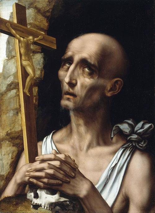 San Jerónimo penitente 1555-65,Col particular Marques de Miraflores.Fue uno de los santos mas representados del SXI-XVIII o bien de cardenas vestido de púrpura o como anacoreta penitente golpeándose el pecho ,crucifijo y calavera.