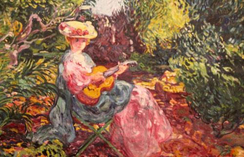 Louis Valtat. Mujer tocando la guitarra 1906.Óleo sobre lienzo.97x130cm.Museo de Bellas Artes en Nimes.