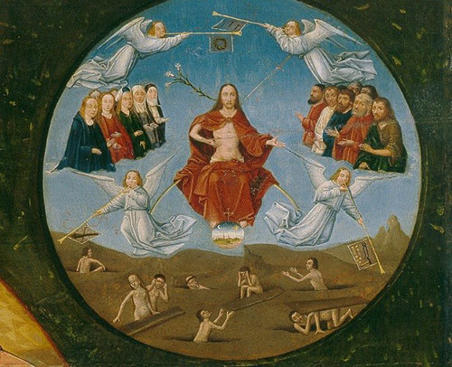 Dios Todopoderoso,Cristo en majestad viene a juzgar a los hombres mientras ángeles tocan las trompetas anunciando la gloria de Dios rodeado por los santos distribuidos a izquierda y derecha según los sexos femenino y masculino.Abajo el hombre despierta.