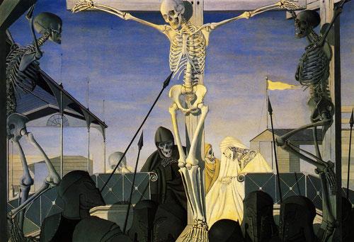 Otra Crucifixión, escandalosa, sin pretenderlo, pintada en 1954.Óleo sobre tabla.200x270cm.Col. privada.Musée d´Ixelles,Bruselas.Pintó toda una serie sobre la Pasión,Descendimiento,las obras expuestas en la Bienal de Venecia fueron condenadas por Roncalli