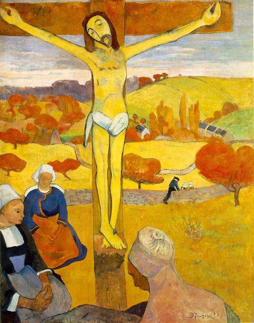 1889 Cristo amarillo.Paul Gauguin.Óleo sobre lienzo.92x 73 cm.Allbright-Knox Art Gallery,Buffalo, E.U. Misterio de la fragilidad humana. Un Cristo de Gauguin que articula dos mundos, dos niveles de experiencia, lo cotidiano y aquello que lo transfigura...