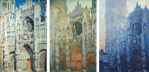De los temas más bellos de Monet,la catedral de Ruan,modelo de artistas románticos..monolito gigante casi monocromo..tímpanos,dovelas,torres,ojivas..sutilezas tonales generadas por el cambio de luz.Prisma luminoso que disuelve contornos.Pincelada grumosa.