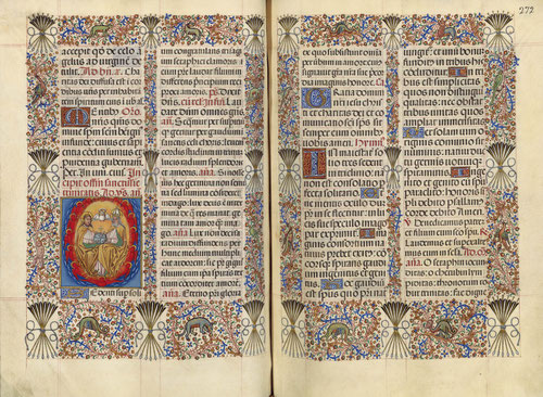 Este Breviario de Isabel La Católica, en el plano iluminado presenta un escudo de armas reales con la granada en la primera pág.y su divisa de flechas en los márgenes.